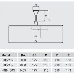 Plafondventilator soler en Palau 90 cm HTB90N met regelaar