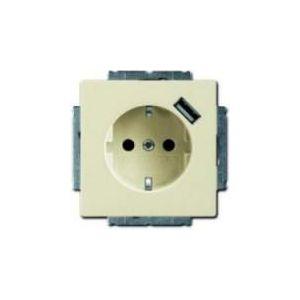 Busch-Jaeger Future linear 1-voudig wandcontactdoos met randaarde en USB aansluiting creme