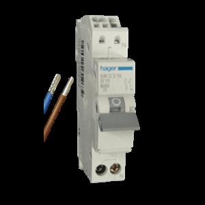 Standaard Hager automaat 16A 1 polig + nul MKS516 B-Kar