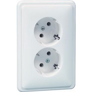 Peha standaard dubbel wandcontactdoos met randaarde 45 graden levend wit