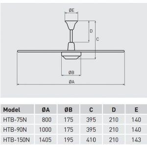 Plafondventilator soler en Palau 75 cm HTB75N met regelaar
